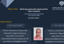 Photo of US Patent for Multi-layer geotextile-plastic particle water treatment system bagged by IAU Researchers